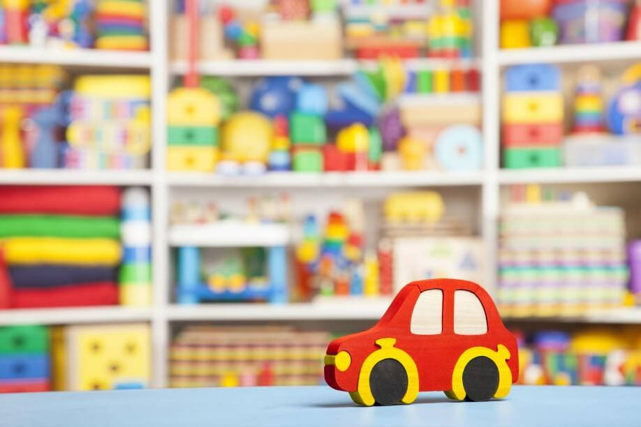 Wooden Car In Room For Children