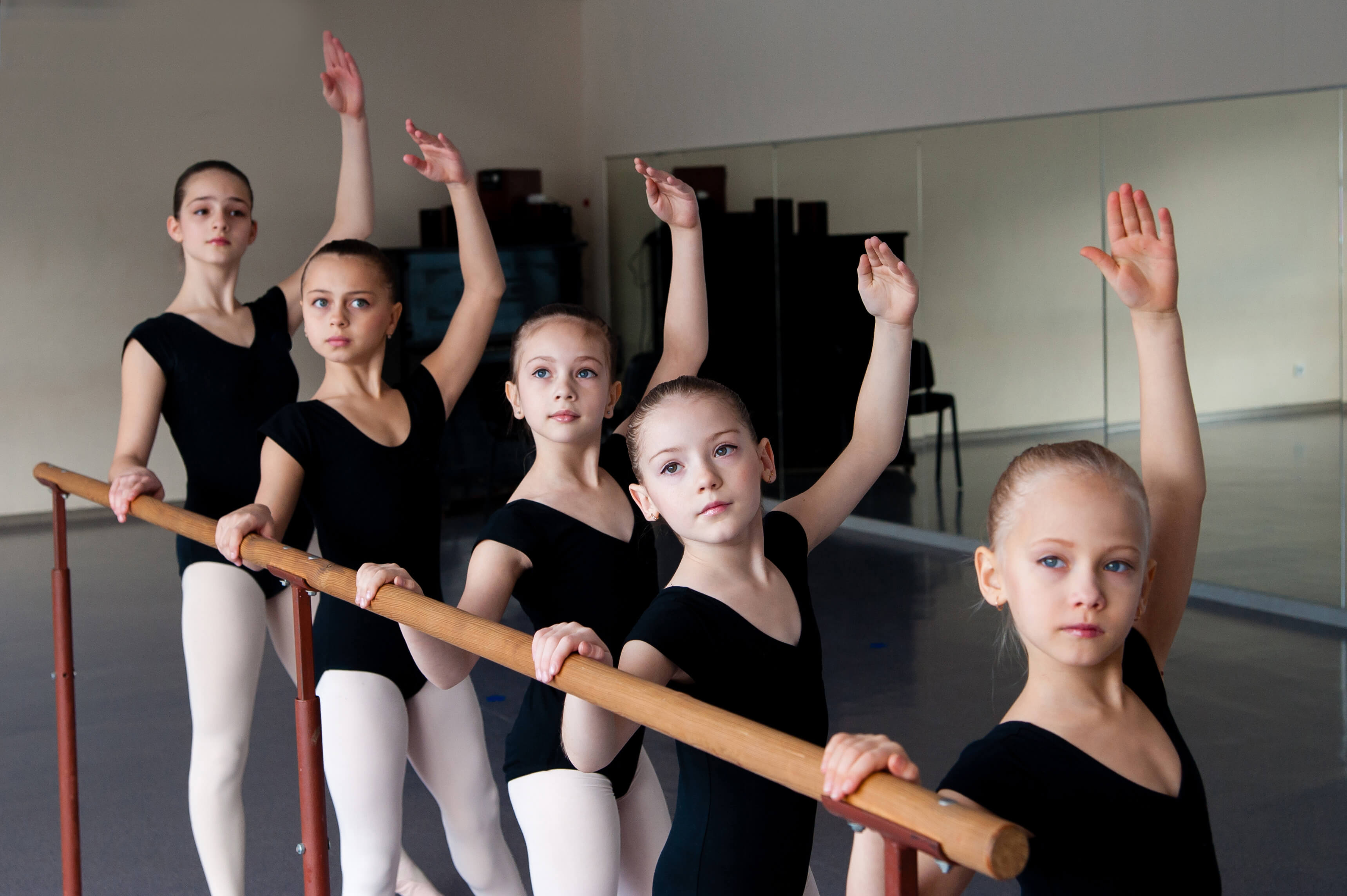 Children In Ballet Dance Class.